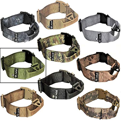FDC Dog Tactical Collars with Handle Heavy Duty Training Military Army Width 1.5in Plastic Buckle TAG Hole Medium Large M, L, XL, XXL (XXL: Neck 20' - 24', Military Green)