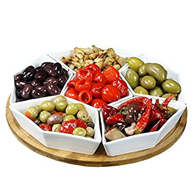 Elama Signature Condiment Server Set with a Bamboo Lazy Suzan Serving Tray, 12  L and W, 7 Piece
