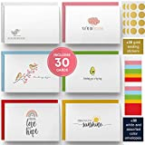 Dessie 30 Fun Thinking of You Cards With Envelopes. 30 4x6 Inch Note Cards With Envelopes Set - Blank Inside. 6 Unique Designs. Assorted Color Envelopes and Gold Seals. Sturdy Storage Box
