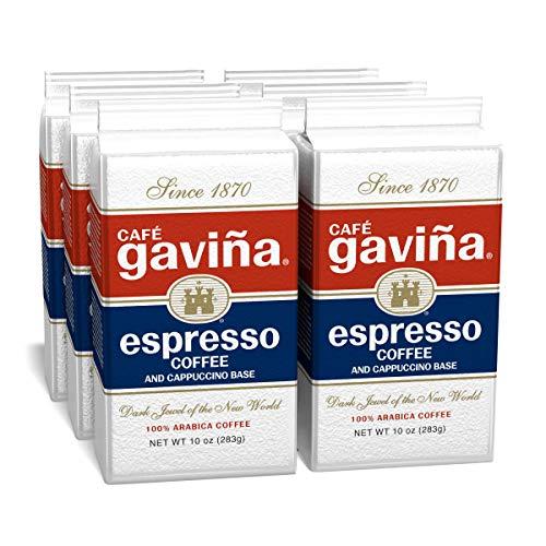 Cafe Gavina Espresso Roast, Fine Ground Coffee (6 x 10 Ounce Bricks)