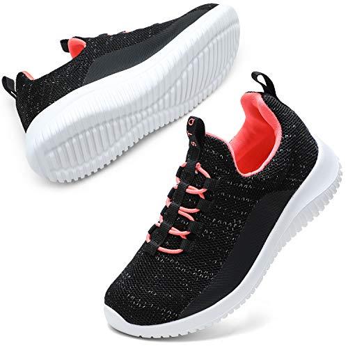 STQ Mädchen Turnschuhe Kinder Sneakers Leichtgewichts Laufschuhe Low top Atmungsaktiv Sportschuhe Schwarz Rose 36 EU