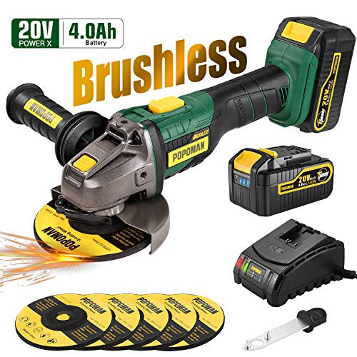 Cordless Angle Grinder, POPOMAN 20V MAX Brushless Cut-off Tool/Grinder with 4.0Ah Lithium-ion Battery, Max 10000RPM, 5pcs 5'' Max Grinding Wheel, 3-Position Auxiliary Handle, Fast charger
