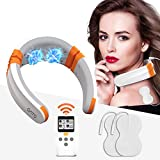 Neck Massager with Heat(F.D.A.-Cleared) OSITO Pulse Intelligent Neck Relax Device with 9 Modes 50 Intensities, Equipped with EMS &TENS Therapy, Cordless Deep Tissue Massager for Neck Pains