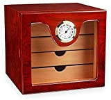 Caja de Almacenamiento de Puros - Caja de Puros con higrómetro y humidificador/Revestimiento de Madera de Cedro/Juego de Regalo para Hombre de 4 cajones (Color: Rojo) Caja Decorativa (Co