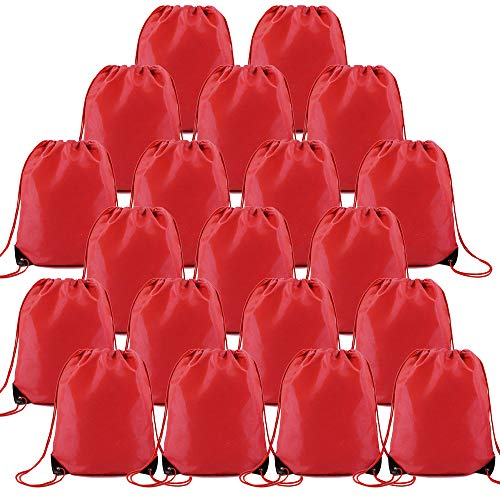 20 Pieces Red Drawstring Bags Bulk for Birthday Party Gym Sports Polyester Custom Multipurpose Cinch Sacks for Heat Vinyl and Tie Dye Pull String Sackpack