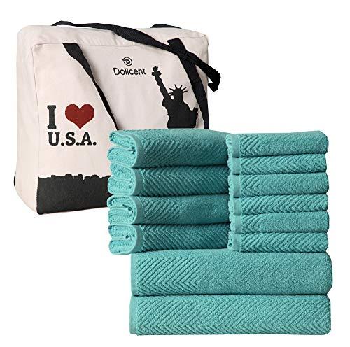 DOLLCENT Jacquard Chevron Premium 600 gsm 100% algodón Toallas de baño para Padres (Juego de Toallas de 12 Piezas, Verde mar)