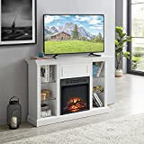 GOOD & GRACIOUS Electric Fireplace TV Stand, Fit up to 55' Flat Screen TV with Four Tempered Glass Open Shelves Entertainment Center for Living Room, White