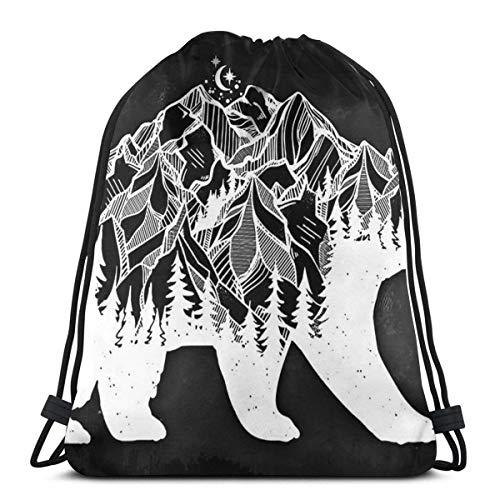 Mochila con Cordón,Bolsas De Cuerdas Gimnasio,Saco De Gimnasio Deporte,Bear Woods Athletic Pull String Bag para Viajar Escuela Compras Yoga
