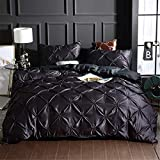 Erosebridal Pinch Pleated Duvet Cover Set Black Queen Size Silk Like Satin Pintuck Bedding Set with Zipper Ruffle Design Luxury & Microfiber Comforter Cover Pintuck Decorative Bedspread Cover