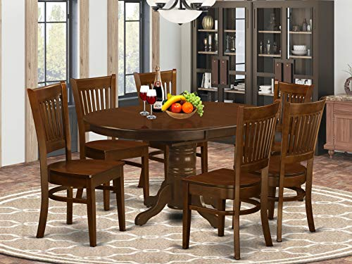 7 Pc set Kenley Dinette Table with a Leaf and 6 hard wood Seat Chairs in Espresso