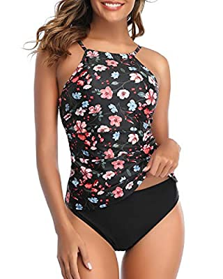 Tempt Me Women Pink Floral High Neck Tankini Top Tummy Control Swimsuit with Shorts 2 Piece Bathing Suit M