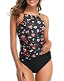 Tempt Me Women Pink Floral High Neck Tankini Top Tummy Control Swimsuit with Shorts 2 Piece Bathing Suit L