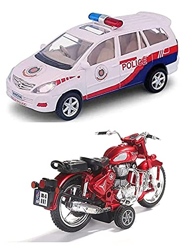 Sheel®Innova Police car with Bullet Bike Toy for Kids Best Birthday Gift for Kids Made in India Toy (Colour Assorted, As Per Availability )