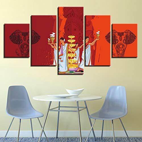 Baobaoshop HD Typographic Poster Modular Painting 5 Indische Charaktere und Tier Elefant Leinwand Bilder Schlafzimmer Wanddekoration Kunstrahmen