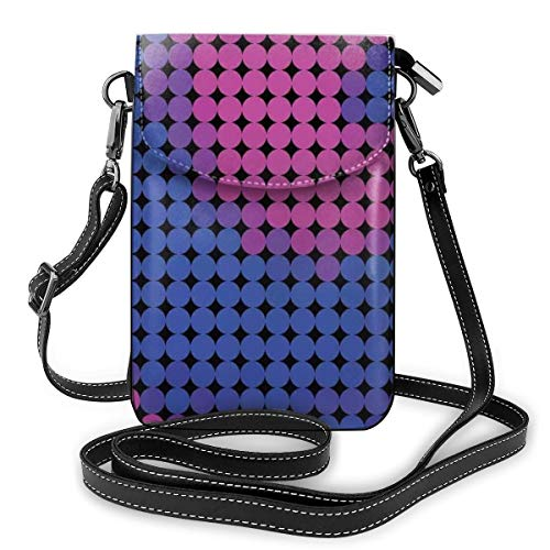 Women Small Cell Phone Purse Crossbody,Spiral Background With Pixel Dotted Flat Design Odd Gradient Artful Art Decor