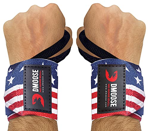 DMoose Fitness Wrist Wraps for Weightlifting, Powerlifting, Barbell Strength Training, Benching, Bodybuilding, MMA and Crossfit, Thumb Loops with Adjustable Straps, Men and Women