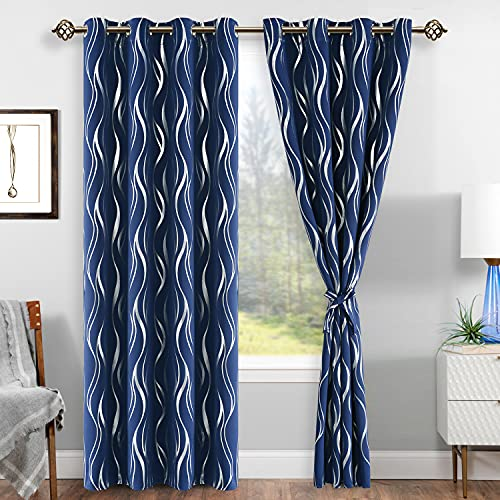 DWCN Blackout Curtains with Tiebacks - Stripe Silver Foil Print Thermal Insulated Energy Saving Grommet Window Curtains for Living Room Bedroom, Set of 2 Panels, W52 x L84 inch, Navy Blue