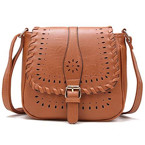 Forestfish Ladies' Vintage Hollow Crossbody Bag Shoulder Bag Purse with Adjustable Shoulder Strape, Brown