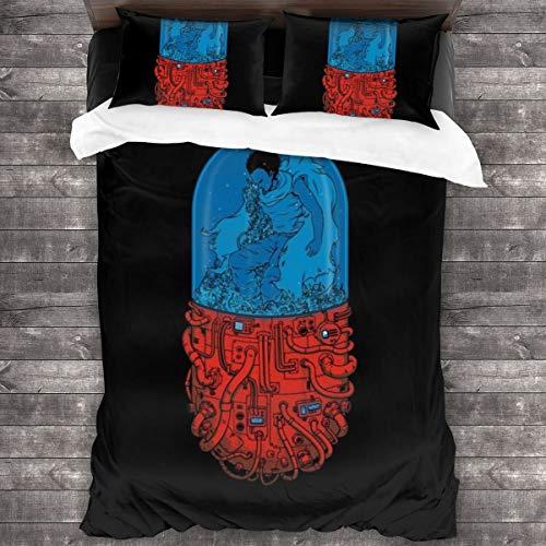 KUKHKU Akira Capsule 41, juego de cama de 3 piezas, funda de edredón de 86 x 70 cm, juego de cama con 2 fundas de almohada