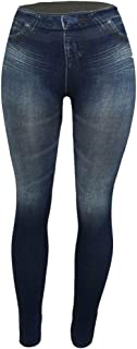 Women's Denim Print Fake Jeans Seamless Fleece Lined Leggings, Full Length