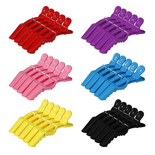 Pinzas de Pelo de Plástico Clips de Cocodrilo de Peluquería Profesional Antideslizante Seccionamiento Pinza de Cabello para Marcar, Peinar, Planchar el Pelo 30 Piezas 6 Colores