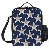 Bolsa para el almuerzo, Nautical Beach Starfish Navy Blue Tote Bag para mujer Men Lunch Box Insulated Lunch Box para Office Work School Picnic Beach, 25 × 20 × 8 cm