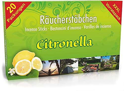 25 pakjes Citronella Anti-Muggen Wierookstokjes, brandduur ca. 60 uur (totaal). XL voorraad als alternatief voor Citronella kaars of theelichtjes voor buiten/in de tuin