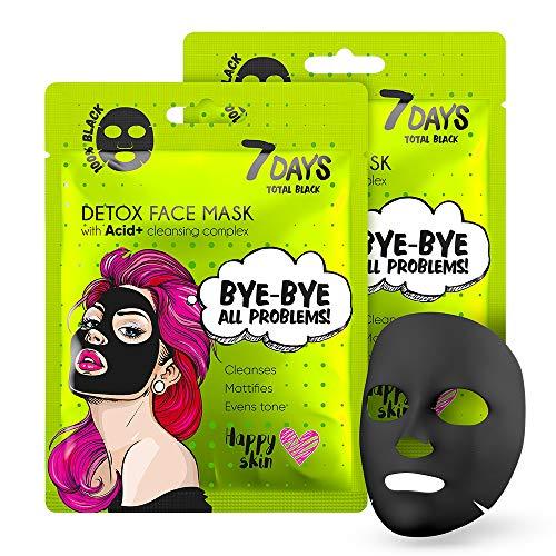 Maschera Viso in Tessuto Nera 2 pezzi Carbone Tutti i Tipi di Pelle Anti Rughe Idratante Efetto Sbiancare Acido Ialuronico 2x25g | 7DAYS
