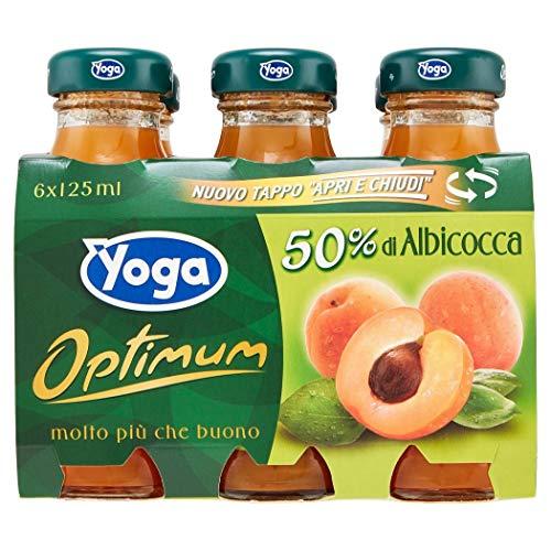 x6 Yoga Succo Albicocca Aprikosensaft ohne Zuckerzusatz (125ml X 6Glasflaschen)