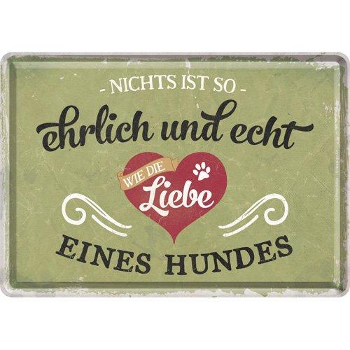Nostalgic-Art Retro Grußkarte PfotenSchild Ehrlich & echt, Geschenk für Hunde-Besitzer, Blechpostkarte, Mini-Blechschild Vintage-Design, 10 x 14 cm
