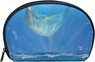 Cosmetic Bag Galaxy Space Dolphin Customized Shell Makeup Bags Organizer Portable Pouch for Women/Girls