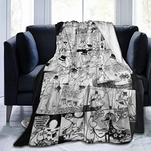 HARXISE Manta de Franela Suave,Moomin se enamora del cómic,Cama de Camping para sofá 127x102cm