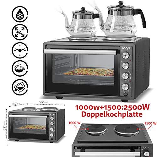 ICQN 42 Liter Mini ofen mit 2 Kochplatten und Umluft   3800 W   Innenbeleuchtung   Pizza-Ofen   Gitterrost   Individuell einstellbare Temperaturregelung   Emailliert   Gleichzeitig Kochen und Backen