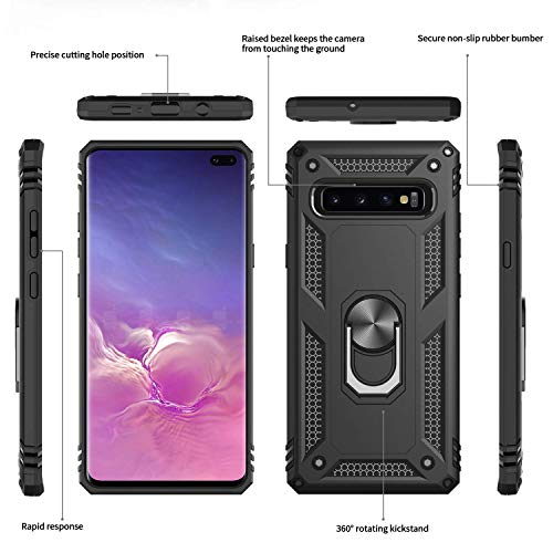 Veilig kopen Galaxy S10 S10 Plus Compatibel Ring Houder Kickstand Volledige Lichaam Schokbestendig Siliconen Tough Armour Bumper TPU PC Defender Rugged Heavy duty Case Slank Dun licht gewicht, Stand Case, Samsung Galaxy S10, Zwart