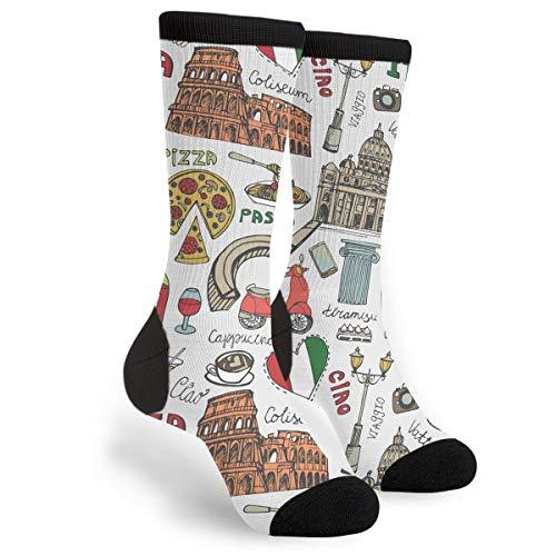 Women's Men's Fun Novelty Crazy Crew Socks Italian Rome Art Dress Socks