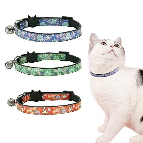 Eastlion Collar de Gato Cuero con Campana,Ajustable Hebilla Seguridad Liberacion Rapida,Flor Collar Collares Gato Gatito Perrito,Naranja+Verde+Azul,18-26CM(3 Piezas)