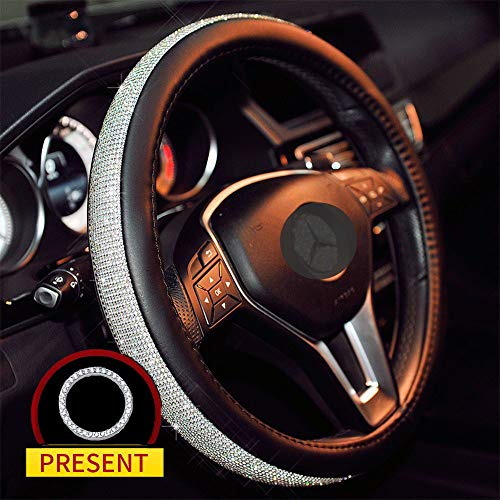 Sino Banyan Diamond Steering Wheel Cover PU Leather Case, with Bling Bling Crystal Rhinestones,...