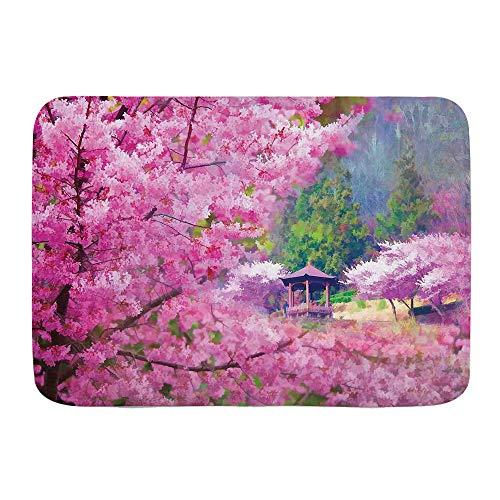 DAOPUDA Antideslizante Alfombra de baño,Paisaje con Flor de Sakura Bosque de pabellón japonés de montaña lejana,Altamente Absorbente Alfombrilla de Piso para Dormitorio Baño Salon