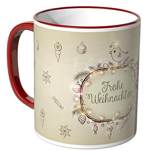 WANDKINGS® Tasse, Schriftzug: Frohe Weihnachten mit vielen kleinen Weihnachtsmotiven - ROT
