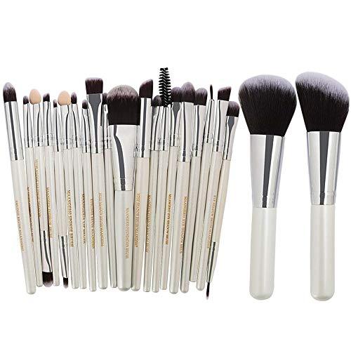 Pinceaux Maquillages Professionnels Kit de 8pcs, Poils Synthétiques Vegan, Soyeux et Denses,(Poudres, Crèmes, Liquides) Costume de 22 pièces, tube argent tige blanche