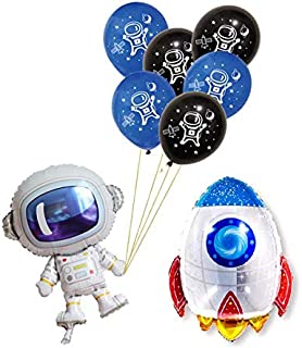 Astra Gourmet Solar System Rocket to Space Astronaut Party Supplies - 24 Latex Balloons & 1 Foil Astronaut and 1 Balloon Rocket Balloon - Outer Space Theme Planet Themed Birthday Party Decor