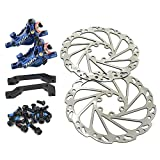 JUIN TECH R1 Hydraulic Road CX Disc Brake Set 160mm with Rotor, Front and Rear, Blue, JT1903