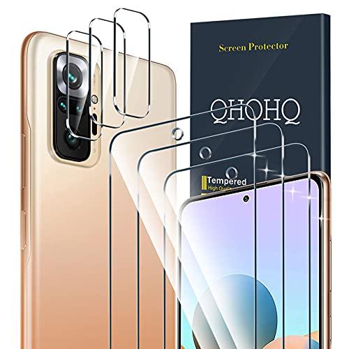 QHOHQ 3 Stück Schutzfolie für Xiaomi Redmi Note 10 Pro/Note 10 Pro Max mit 3 Stück Kamera Schutzfolie, Panzerglas Membran, 9H Festigkeit - HD - Anti-Kratz - Blasenfrei - Einfach Installieren