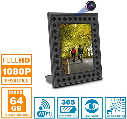 NuCam Yieye WiFi Photo Frame Hidden Spy Camera for Home/Office Security & Pet/Kid Surveillance w. 1080P HD, 365 Days Battery Life, Night Vision & Instant Alerts(Bonus 64GB SD Card Included) (1080P)
