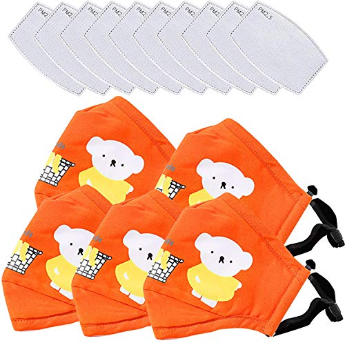 5 Pack Children cartoon bear Face_Mask,Washable Reusable, with Adjustable Earloops Kids Face_Mask,with 10 Fịlter, for Boys Girls Children (5 Pack Orange)