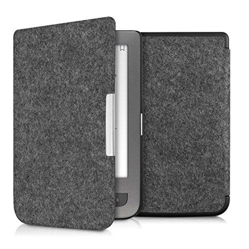kwmobile Hülle kompatibel mit Pocketbook Touch Lux 3/Basic Lux/Basic Touch 2 - Filz Stoff eReader Schutzhülle Cover Case - Dunkelgrau