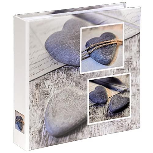 Hama Album photo 'Catania' (taille de l'album 22 x 22 cm pour 200 photos au format 10 x 15 cm, 100 pages, papier stratifié, thématique mariage/vacances, emplacement pour CD, personnalisable) Gris