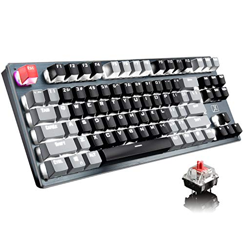 Bluetooth Mechanical Gaming Keyboard with LED Backlit 87 Anti-Ghost Key Ergonomic Metal Plate Wired/Wireless 2.4Ghz USB Receiver Rechargeable 3300mAh Battery for PC Mac Gamer (Black Gray/Red Switch)