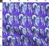 Huskys, Hunderassen Stoff, Blau, Lila Stoffe - Individuell