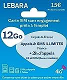 SIM prépayée + appels et SMS illimités France + 2h vers 43 Destinations + 12Go + 3 Go offerts !